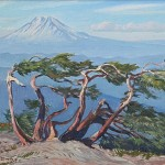 Mount Saint Helens - Wind Blown Pines, c. 1940s 8 x 10 inches  I  Oil on Canvas Private Collection