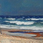 Stormy Day - Kehoe's Beach, c. 1950 5.75 x 15.75 inches  I  Oil on Board Private Collection